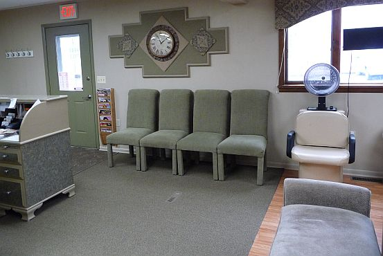 Shear Style's comfortable waiting area